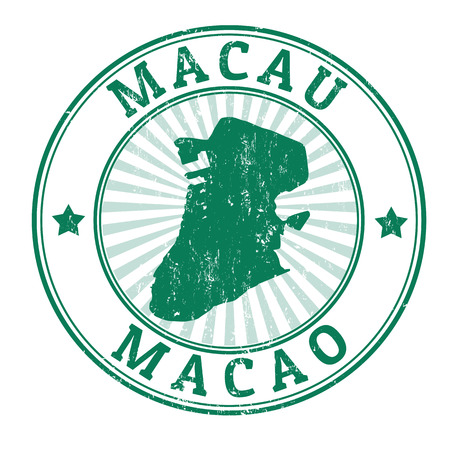 macao: Grunge rubber stamp with the name and map of Macau, illustration