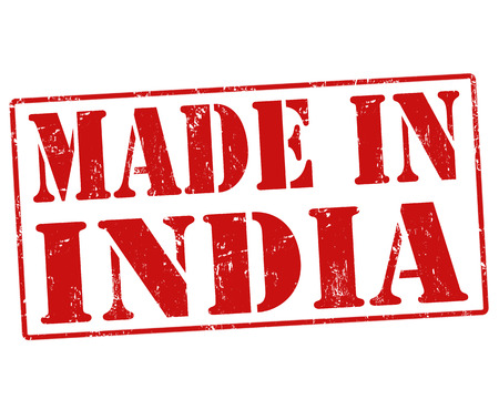 Made in India grunge rubber stamp on white, illustration Vector
