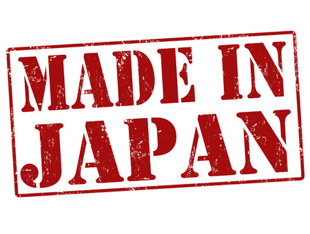 exported: Made in Japan grunge rubber stamp on white