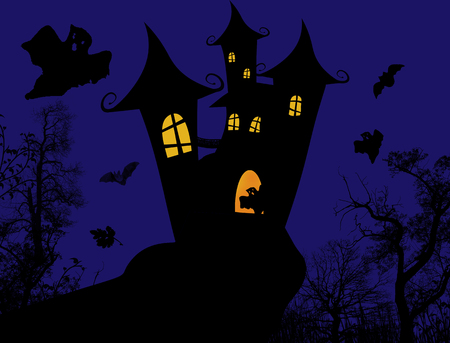 Scary castle - Halloween poster design, illustration Vector