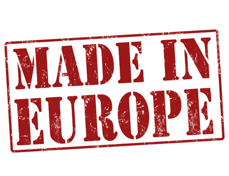 Made in Europe grunge rubber stamp on white, illustration Иллюстрация