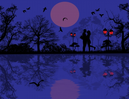 to adore: Romantic couple silhouette embrace over blue sunset on a park, illustration