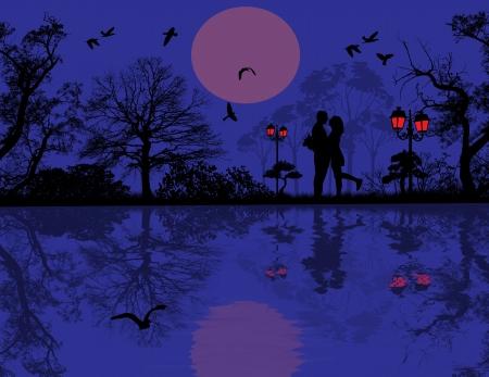 love couples: Romantic couple silhouette embrace over blue sunset on a park, illustration