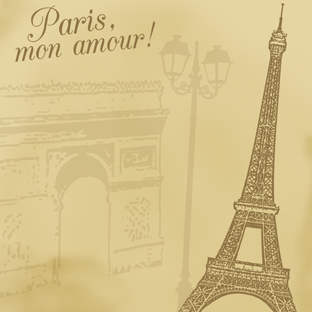 built tower: A background with Eiffel tower and Arc de triomphe in retro style, illustration