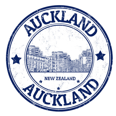 Grunge rubber stamp with the name of Auckland city from New Zealand written inside, illustration  Vector