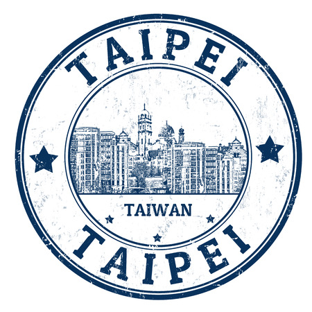inks: Grunge rubber stamp with the name of Taipei city of Taiwan, illustration Illustration