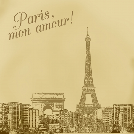 paris skyline: Scenery of Paris on vintage background, illustration