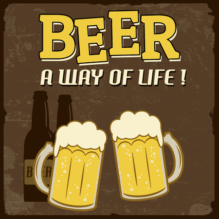 Beer, a way of life grunge poster, illustration Stock Vector - 22465340
