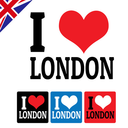 I love London sign and labels on white background, illustration Vector