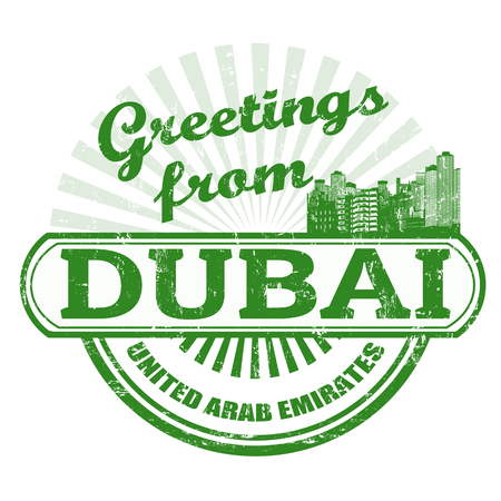emirates: Grunge rubber stamp with text Greetings from Dubai, illustration Illustration