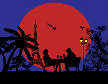outdoor glamour: Couple silhouette in cafe in front of Eiffel tower , illustration Illustration