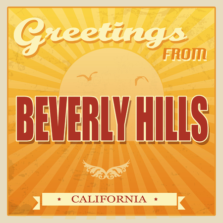 Vintage Touristic Greeting Card - Beverly Hills, California, illustration Vector
