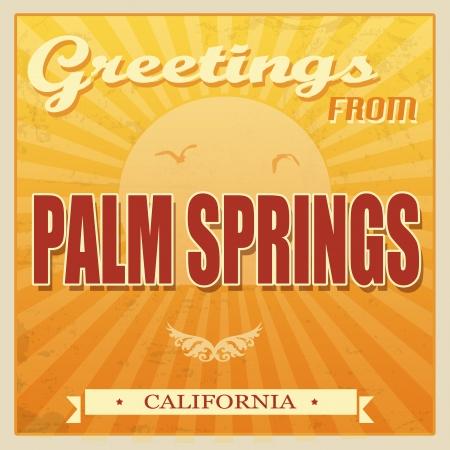 palm springs: Vintage Touristic Greeting Card - Palm Springs, California, illustration