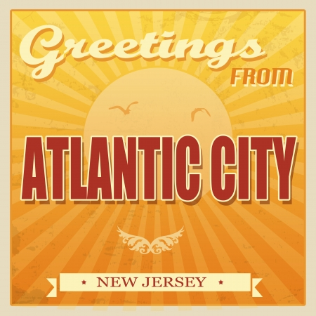 atlantic city: Vintage Touristic Greeting Card - Atlantic City, New Jersey, illustration