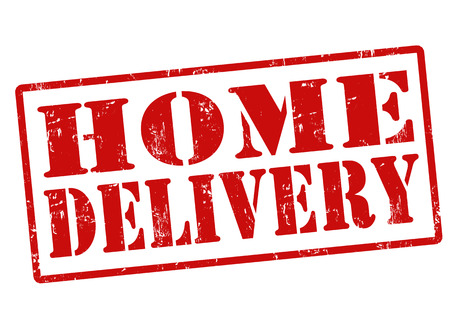 Home delivery grunge rubber stamp on white, illustration Vector