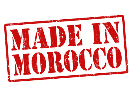 made in morocco: Made in Morocco grunge rubber stamp on white, illustration