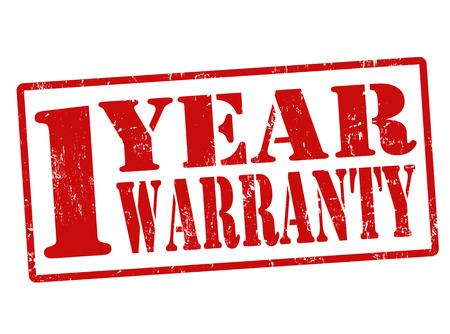 1 Year Warranty grunge rubber stamp on white, illustration Vector