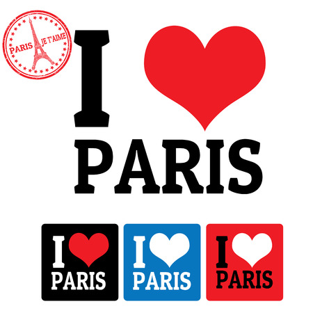 I love Paris sign and labels on white background, vector illustration Vector