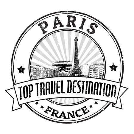 triumph: Grunge rubber stamp with Arch of Triumph, Eiffel Tower and the word Paris, France inside, vector illustration