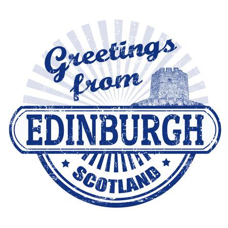 edinburgh: Grunge stempel met de tekst Groeten uit Edinburgh, vector illustratie