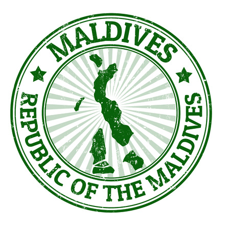 maldives: Grunge rubber stamp with the name and map of Maldives, vector illustration Illustration