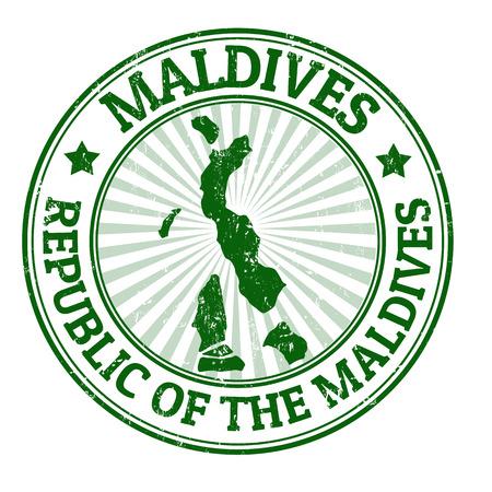 Grunge rubberen stempel met de naam en de kaart van de Malediven, vector illustratie Stock Illustratie
