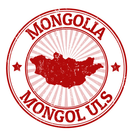 Grunge rubber stamp with the name and map of Mongolia, vector illustration Vector