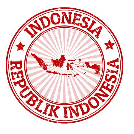 グランジ ベクトル イラスト、インドネシアの地図と名前スタンプ  イラスト・ベクター素材