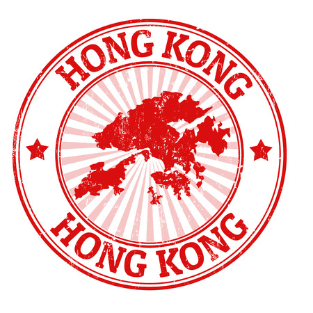 made in china: Grunge rubber stamp with the name and map of Hong Kong, vector illustration