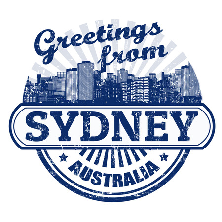 sydney: Grunge rubber stamp with text Greetings from Sydney, vector illustration