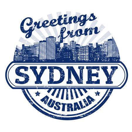 timbre voyage: Tampon en caoutchouc grunge avec des messages texte à partir de Sydney, illustration vectorielle