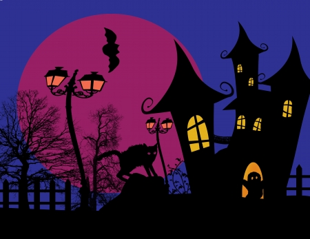 Scary halloween with castle and black cat on scarry place, vector illustration