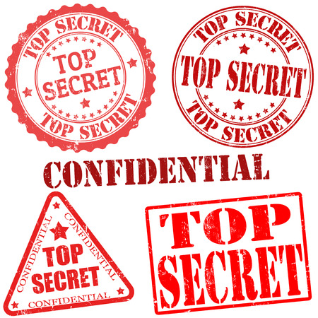 secret: Top secret grunge stamp collection on white background, vector illustration