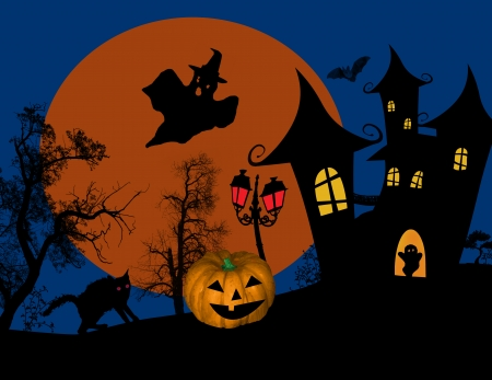 scarry: Scary halloween with castle, ghosts and  pumpkin on scarry place, vector illustration