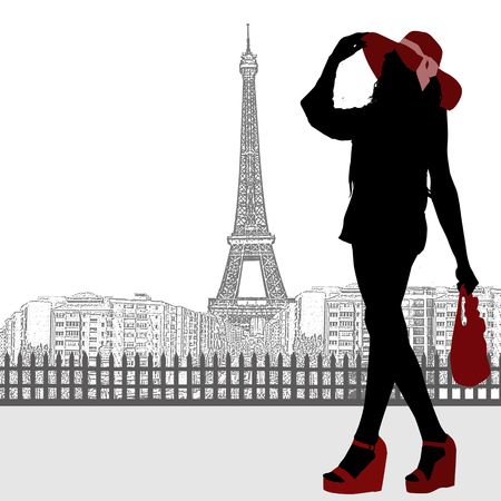 frenchwoman: Pretty woman silhouette and Paris skyline on white, vector illustration