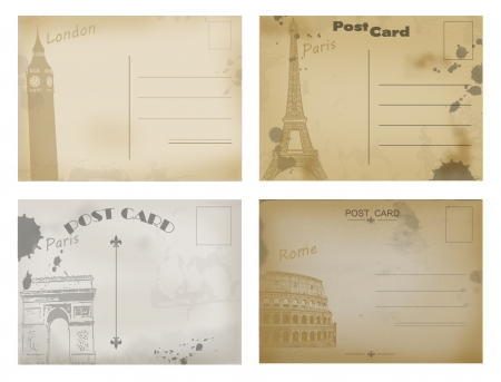 Set of vintage postcard designs with London, Paris and Rome, vector illustration Vector