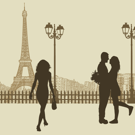 Peoples on a street in Paris on vintage , vector illustration Vector