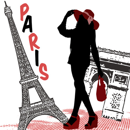 shopping trip: Beautiful woman silhouette on a french background, vector illustration