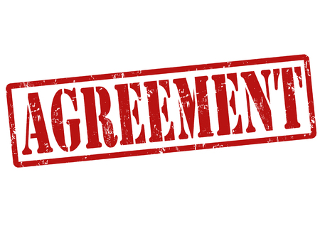 treaty: Agreement grunge rubber stamp on white, vector illustration