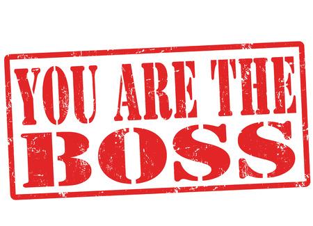jerarquia: Usted es el jefe grunge sello de goma en blanco, ilustración vectorial
