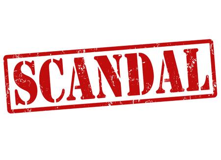 wrongdoing: Scandal grunge rubber stamp on white, vector illustration