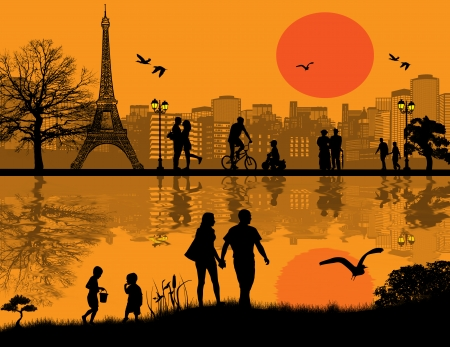paris skyline: Vector design background with Paris cityscape and people silhouette with reflection on water