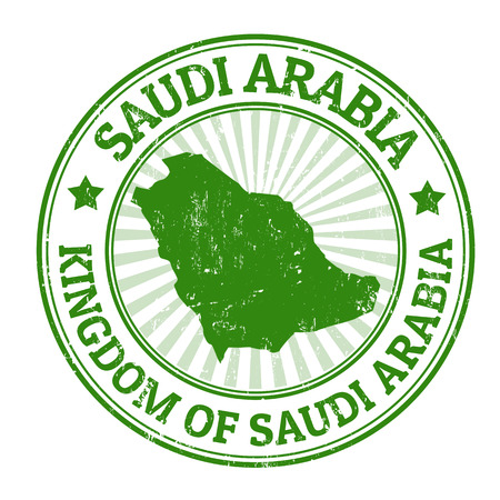 arabia: Grunge rubber stamp with the name and map of Saudi Arabia, vector illustration Illustration