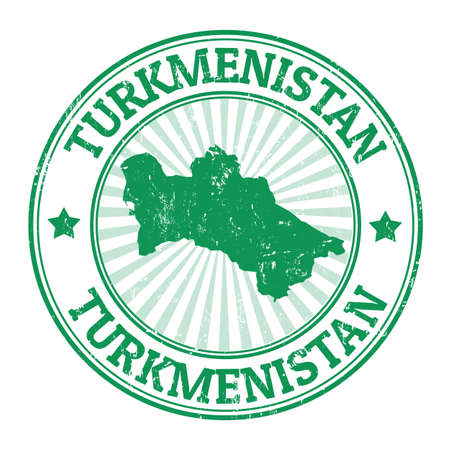 turkmenistan: Grunge rubber stamp with the name and map of Turkmenistan, vector illustration
