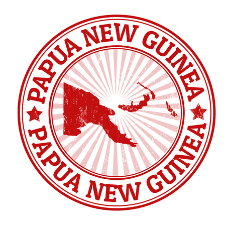 identifier: Grunge rubber stamp with the name and map of Papua New Guinea, vector illustration