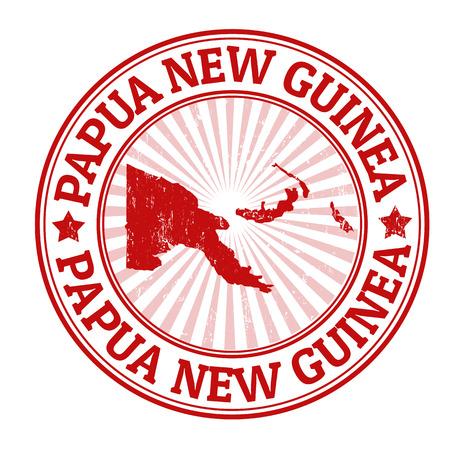 Tampon en caoutchouc grunge avec le nom et la carte de la Papouasie-Nouvelle-Guinée, illustration vectorielle Vecteurs