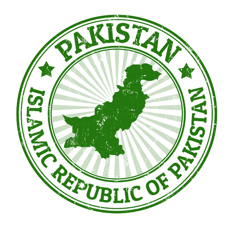 Grunge rubber stamp with the name and map of Pakistan, vector illustration