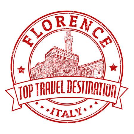 florence italy: Top destinazione di viaggio grunge timbro di gomma con la parola Firenze, Italia dentro, illustrazione vettoriale