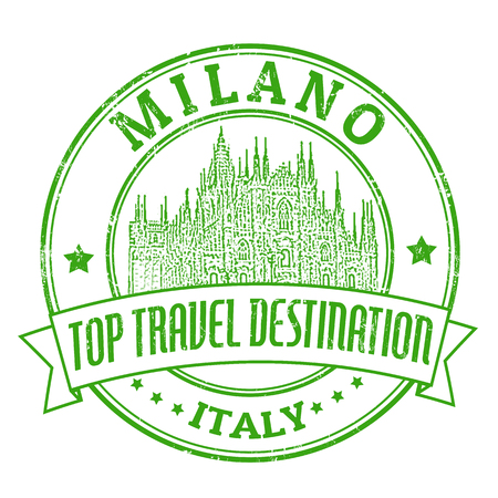 Top travel destination grunge rubber stamp with the word Milano, Italy inside, vector illustration