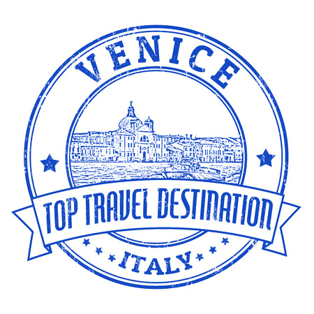 venice italy: Top travel destination grunge rubber stamp with the word Venice, Italy inside, vector illustration
